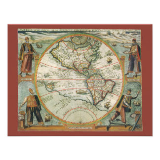 Antique Old World Map of the Americas 1597 Custom Invitations