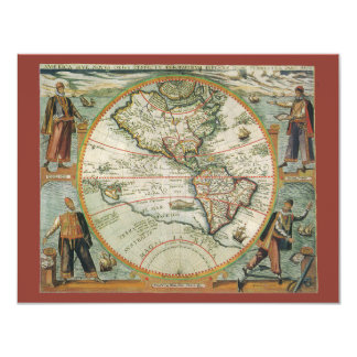 Antique Old World Map of the Americas, 1597 4.25x5.5 Paper Invitation Card