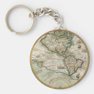 Antique Old World Map of the Americas, 1597 Keychain