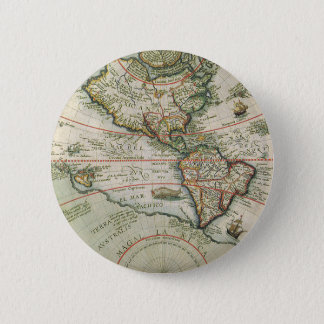 Antique Old World Map of the Americas, 1597 Pinback Button