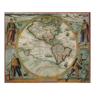 Antique Old World Map of the Americas, 1597 Poster