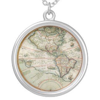 Antique Old World Map of the Americas, 1597 Silver Plated Necklace