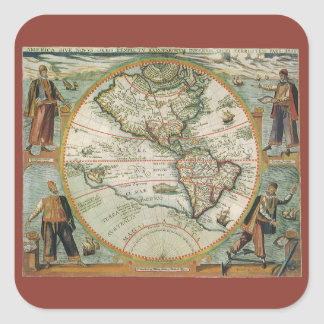 Antique Old World Map of the Americas, 1597 Square Sticker