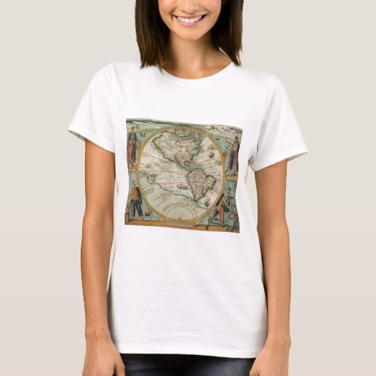 Antique Old World Map of the Americas, 1597 T-Shirt