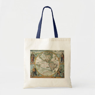 Antique Old World Map of the Americas, 1597 Tote Bag