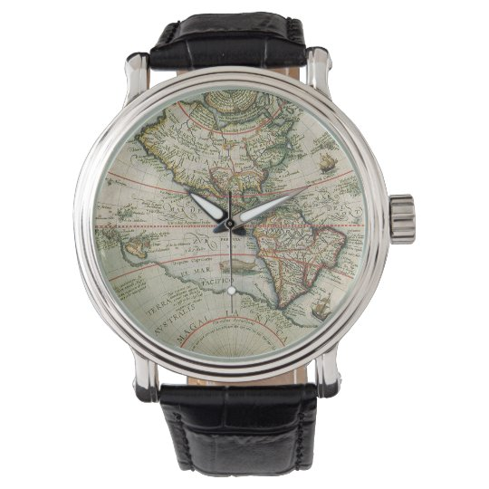 Antique Old World Map of the Americas, 1597 Wrist Watch