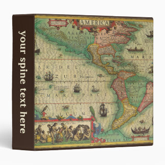Antique Old World Map of the Americas, 1606 3 Ring Binder
