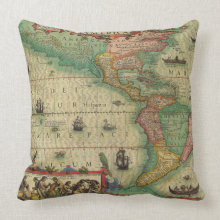 Antique Old World Map of the Americas, 1606 throwpillow