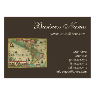Antique Old World Map of the Americas, 1606 Business Card Template