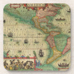Antique Old World Map of the Americas, 1606 Drink Coasters
