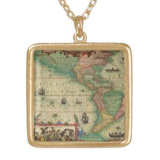 Antique Old World Map of the Americas, 1606 Gold Plated Necklace