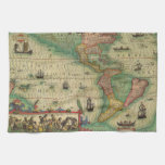 Antique Old World Map of the Americas, 1606 Hand Towel