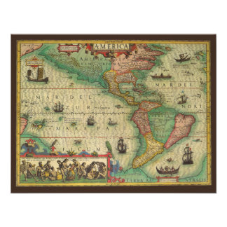 Antique Old World Map of the Americas 1606 Personalized Invites