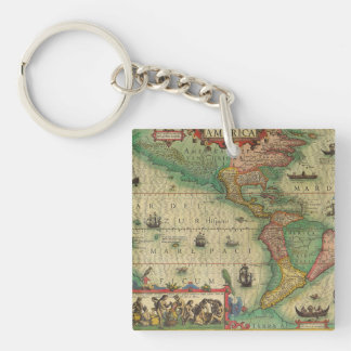 Antique Old World Map of the Americas, 1606 Square Acrylic Key Chains