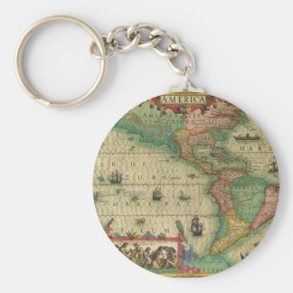 Antique Old World Map of the Americas, 1606 Key Chain