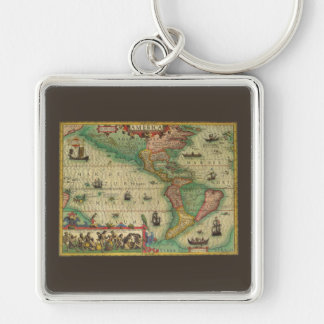 Antique Old World Map of the Americas, 1606 Keychains