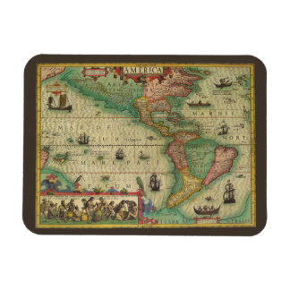 Antique Old World Map of the Americas, 1606 Magnet
