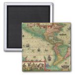 Antique Old World Map of the Americas, 1606 Fridge Magnet