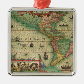 Antique Old World Map of the Americas, 1606 Metal Ornament