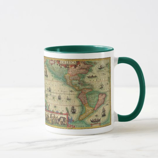 Antique Old World Map of the Americas, 1606 Mug