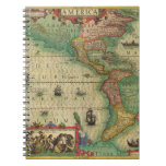 Antique Old World Map of the Americas, 1606 Notebook