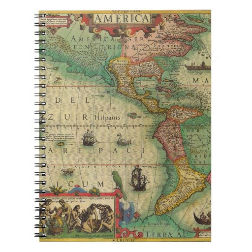Antique Old World Map of the Americas, 1606 Notebooks