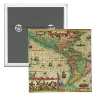 Antique Old World Map of the Americas, 1606 Pinback Button