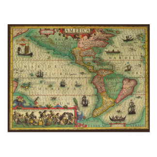 Antique Old World Map of the Americas, 1606 Postcard