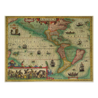 Antique Old World Map of the Americas, 1606 Poster