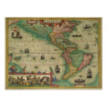 Antique Old World Map of the Americas, 1606 Print