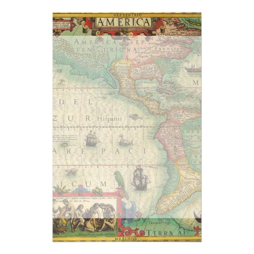 Antique Old World Map of the Americas, 1606 Personalized Stationery