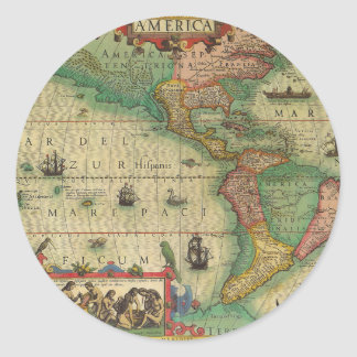 Antique Old World Map of the Americas, 1606 Round Sticker