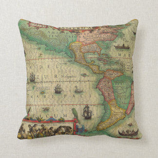 Antique Old World Map of the Americas, 1606 Throw Pillow