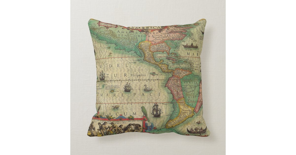 Antique Old World Map of the Americas, 1606 Throw Pillow Zazzle