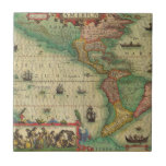 Antique Old World Map of the Americas, 1606 Tile