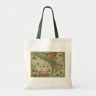 Antique Old World Map of the Americas, 1606 Tote Bag