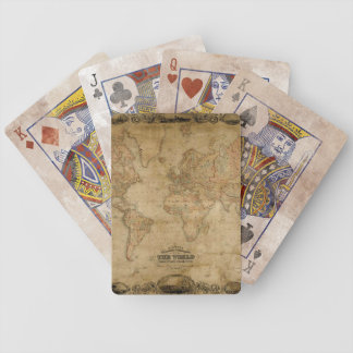 Antique Old World Map on Playing Cards