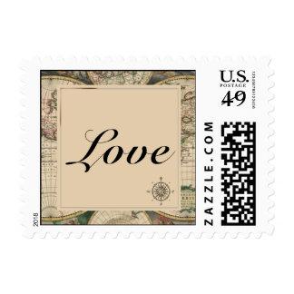 Antique Old World Map Postage Stamp