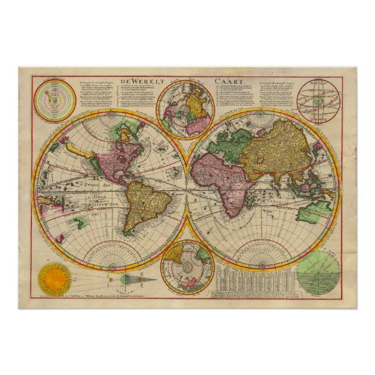 Antique Old World Map Poster