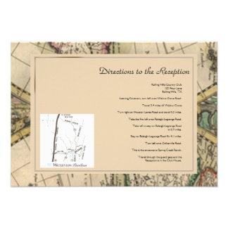 Antique Old World Map Wedding Directions Invite