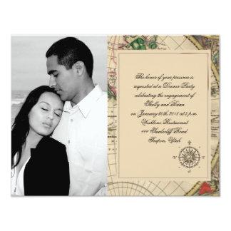 Antique Old World Map Wedding Engagement Card