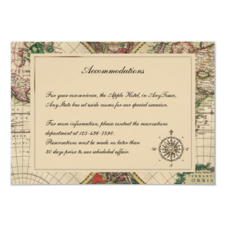 Antique Old World Map Wedding Insert Card