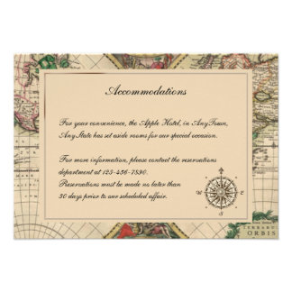 Antique Old World Map Wedding Insert Personalized Announcement