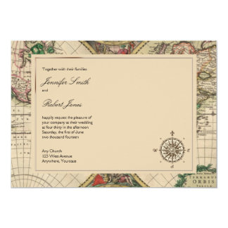 Antique Old World Map Wedding Invitation