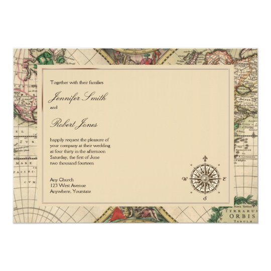 Wedding Invitations With Maps: Antique Old World Map Wedding Invitation