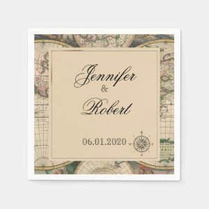 Antique Old World Map Wedding Napkin