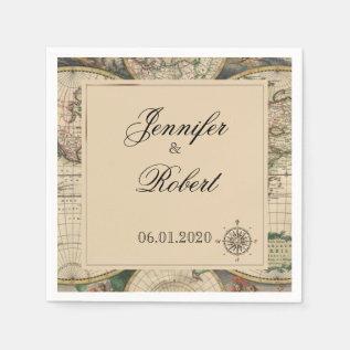 Antique Old World Map Wedding Napkin at Zazzle