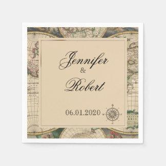 Antique Old World Map Wedding Napkin