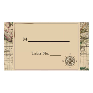 Antique Old World Map Wedding Place Cards Double-Sided Standard Business Cards (Pack Of 100)