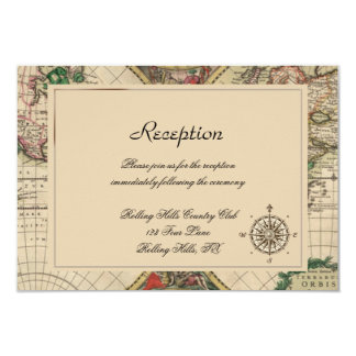 Antique Old World Map Wedding Reception Card